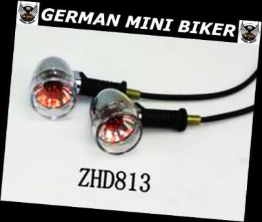 Blinker Retro Chrom-Black rund ZHD813 1 Paar
