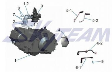 ORIGINAL SKYTEAM Motor 50cc HALBAUTOMATIC SILBER (LONCIN)